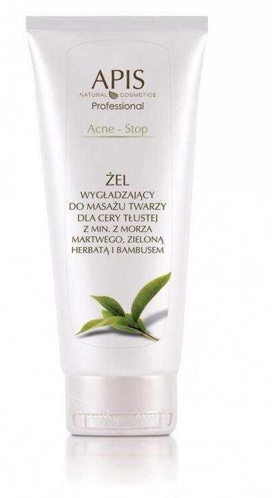 APIS APIS ACNE-STOP Żel wygłądzający do masaży twarzy dla cery tłustej z minerałów Morza Martwego, zieloną herbatą i bambusem 200 ml