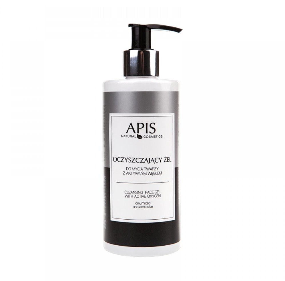 Apis Professional Oczyszczający żel do mycia twarzy z aktywnym węglem 300 ml
