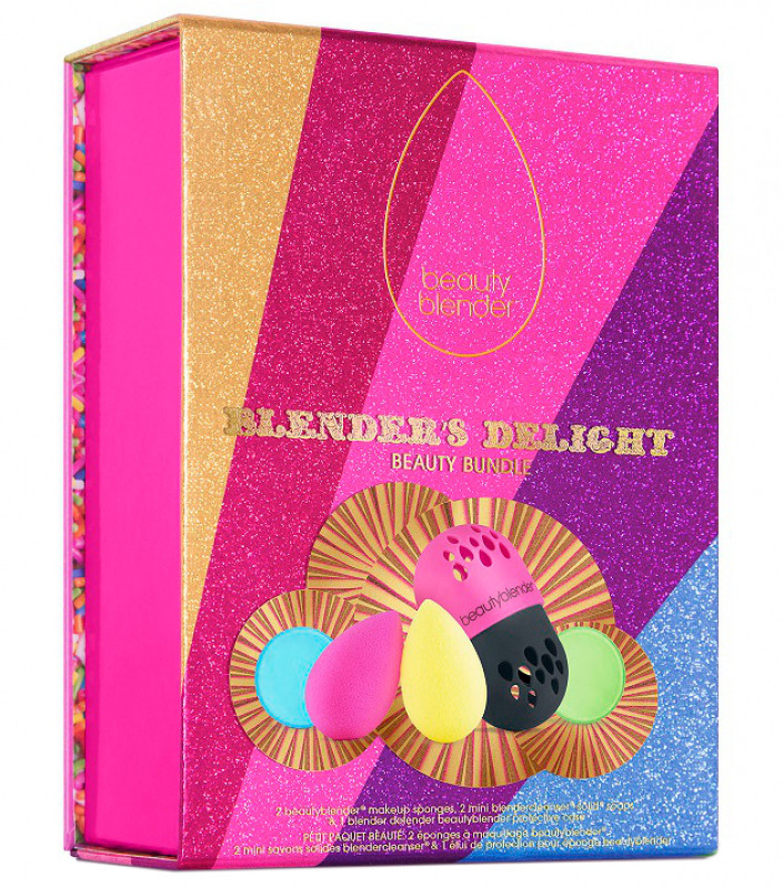 Beautyblender Blender`s Delight Beauty Bundle - Zestaw świąteczny 2 gąbek do aplikacji kosmetyków, 2 mini mydełek + etui ochronne na blender BEA2DKMENBL