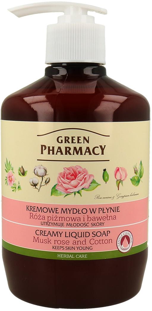 Green Pharmacy Kremowe Mydło W Płynie Róża Piżmowa I Bawełna - Utrzymuje Młodość Skóry 460ml 5901845506304