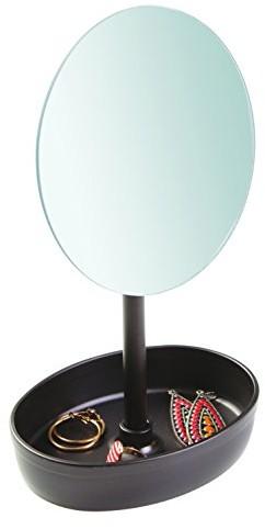 InterDesign Inter wzornictwo 09564eu stojący lusterku do makijażu półka do łazienki, Plastic, metal, szkło, z brązu, 13,97x 15,24x 28,57cm 09564EU