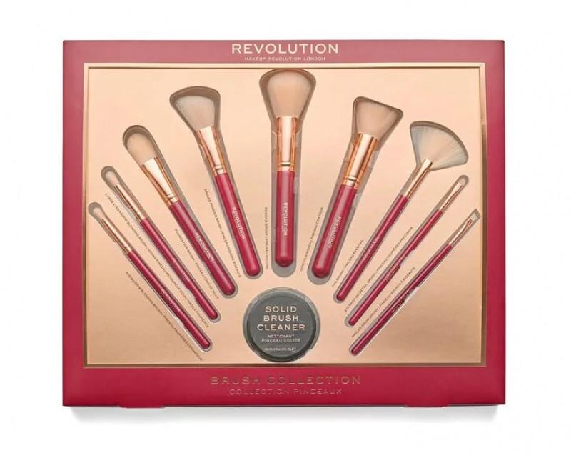 Makeup Revolution BRUSH COLLECTION - Zestaw 9 pędzli do makijażu + mydełko - PINCEAUX I HDMPI