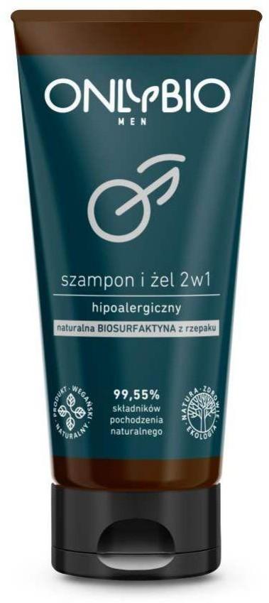 OnlyBio OnlyBio Men hipoalergiczny szampon i żel 2w1 z olejem z rzepaku tuba 200ml