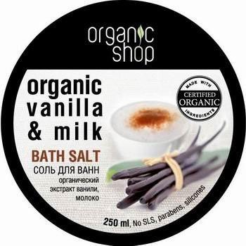 Organic Shop Sól do kąpieli Organic Vanilla & Milk- Waniliowe mleko 250ml OSHOP-2691