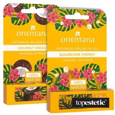 Orientana Coconut Box ZESTAW Naturalny peeling do ust energia trzciny cukrowej 4,2 g + Naturalny balsam do ust kokosowa energia 4,2 g