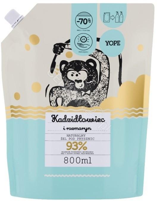 YOPE naturalny żel pod prysznic Kadzidłowiec i Rozmaryn Reffil 800 ml