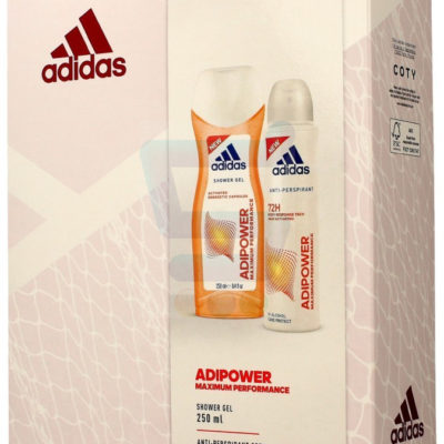Adidas Adipower Women Zestaw Dezodorant w sprayu 150 ml + Żel pod prysznic 250 ml