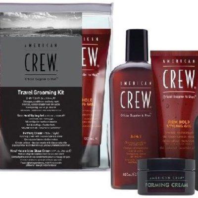 American Crew Travel Grooming zestaw męski podróżny żel do kąpieli, krem do włosów, żel do włosów, krem do golenia 2x100ml 2x50ml
