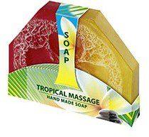 BioFresh Mydło naturalne tropical massage z wtopioną naturalną gąbką do masażu 80 g