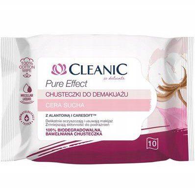 Cleanic Chusteczki do Demakijażu Pure Effect do cery suchej 10szt