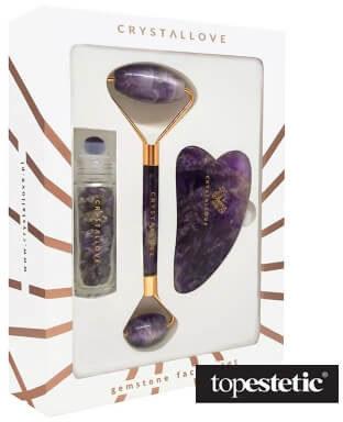 Crystallove Crystallove Amethyst Beauty Set ZESTAW Masażer do twarzy 1 szt. + Płytka do masażu twarzy gua sha 1 szt + Buteleczka z kryształkami ametystu na olejek 10 ml