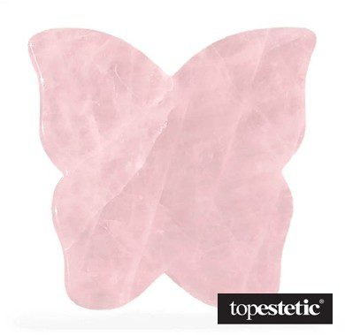 Crystallove Crystallove Płytka Motylek do Masażu Twarzy Gua Sha z Kwarcu Różowego Oczyszcza z toksyn, poprawia krążenie 1 szt.