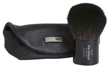 da Vinci Kabuki pędzel do pudru + skórzane etui No 9600 Pocket Powder Brush In Leather Sleeve Dark Brown Goat Hair