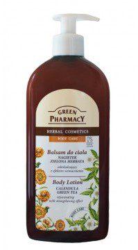 Elfa PHARM POLSKA GREEN PHARMACY Balsam do ciała odmładzający z efektem wzmacniania, nagietek i zielona herbata, 500ml