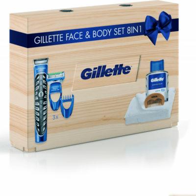 Gillette Drewniane pudełko upominkowe Styler + woda po goleniu + grzebień + ręcznik