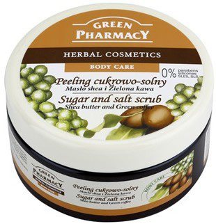 Green Pharmacy Body Care Shea Butter & Green Coffee peeling cukrowo-solny 0% Parabens Silicones SLES SLS 300 ml