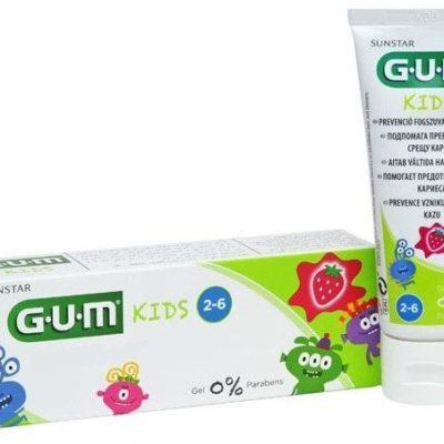 GUM Butler GUM Toothpaste Kids Monster - pasta do mycia zębów w formie żelu dla dzieci w wieku 2-6 lat, 50 ml, smak truskawkowy 3000