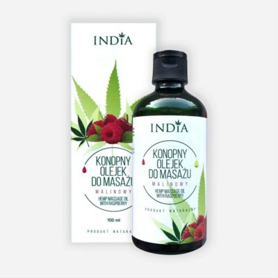 India Cosmetics India Konopny olejek do masażu malinowy 100ml