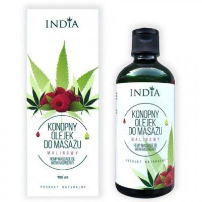 India Konopny olejek do masażu - malinowy India, 100 ml