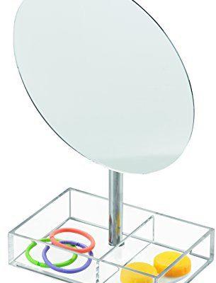 InterDesign Inter designerska 20680eu luci urządzenie wolnostojące lusterko kosmetyczne z półką na biżuterię lub kosmetyków do łazienkiokrągły, przezroczysta 20680