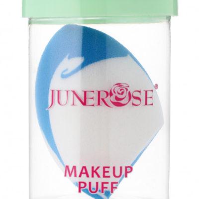 Junerose JUNEROSE - MAKEUP PUFF - Gąbka do makijażu typu blender + lusterko - RÓŻOWO-BIAŁA JUNBROA