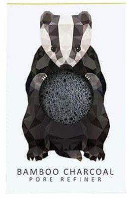 Konjac Gąbka Mini Borsuk z czarnym węglem bambusowym do cery tłustej i problematycznej