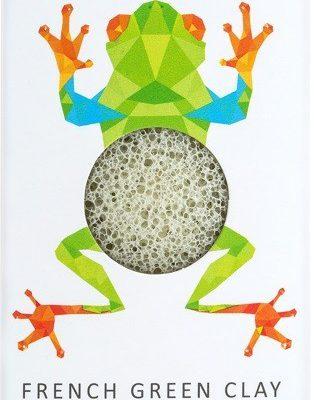 Konjac Sponge Konjac Sponge Gąbka Mini Rainforest Żabka z zieloną glinką do cery normalnej, mieszanej i tłustej