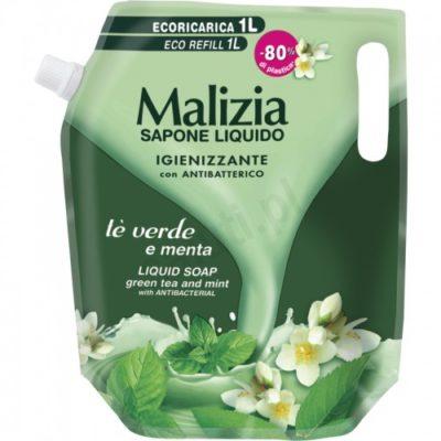 Malizia con Antibatterico Mięta i zielona herbata - mydło w płynie uzupełnienie (1000 ml) D7EA-27613