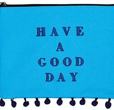 Moses . Torebeczka Good Day, torba damska w modnym wzornictwie, z pompony-zdobieniem i haftem, 20cm, niebieski 80840