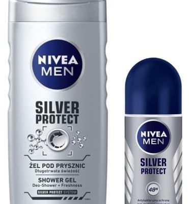 Nivea Men MEN Silver Protect zestaw żel pod prysznic 250ml + antyperspirant roll-on 50ml NIV-00214