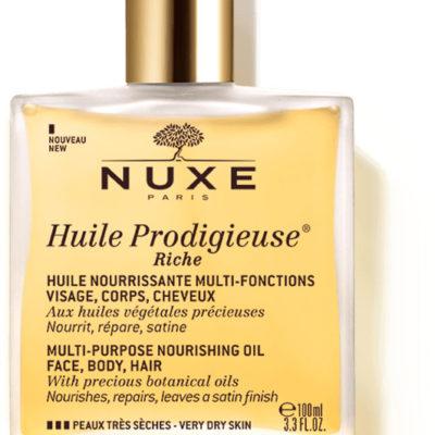 Nuxe prodigieuse huile RICHE wielofunkcyjny suchy olejek do twarzy ciała i włosów 100 ml + zapachowa świeczka GRATIS!