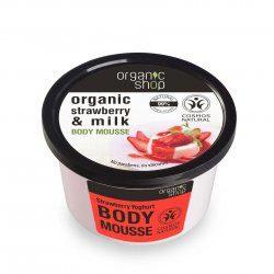 Organic Shop naturalny zmiękczający mus do ciała Jogurt truskawkowy 250ml