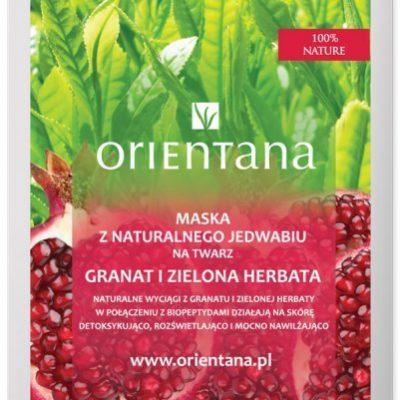 Orientana Anna Wasilewska Maska z naturalnego jedwabiu na twarz Granat i zielona herbata 1 sztuka 7058581