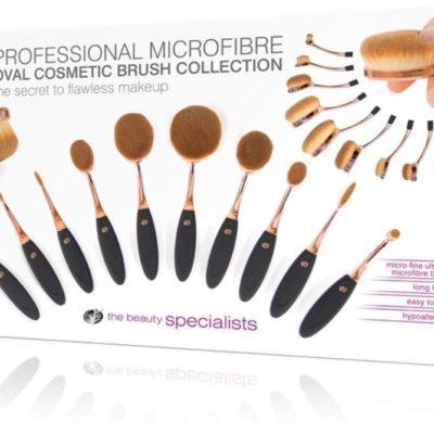 Rio Beauty Professional Microfibre Cosmetic Brush Collection zestaw 10 profesjonalnych szczotek z włosiem z mikrofibry do makijażu
