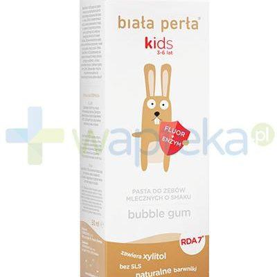 Vitaprodukt Biała Perła Kids pasta do zębów mlecznych o smaku bubble gum dla dzieci 3-6 50 ml 7067297