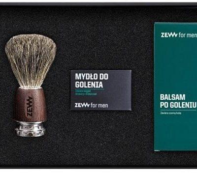 Zew for men Gładki Golibroda zestaw mydło do golenia z węglem drzewnym 85ml + balsam po goleniu z czarną hubą 80ml + pędzel do golenia